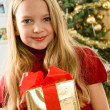 Stock Photo: Beautiful young blonde girl - christmas