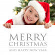 Pretty blond hair girl with santa hat — Stock Photo #16028803