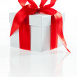 White box with red ribbon — Stock Photo