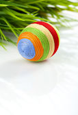 Easter egg with woollen yarn — Foto Stock