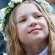 First Communion smiling girl — Stock Photo