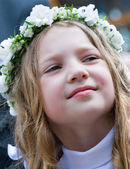 First Communion smiling girl  — Stock fotografie
