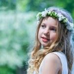 primeira comunhão menina bonita — Foto Stock