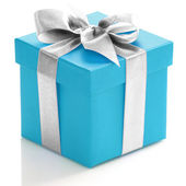 Blue gift box with silver ribbon — Stock Photo