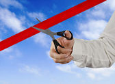 Cutting red tape — Stock Photo