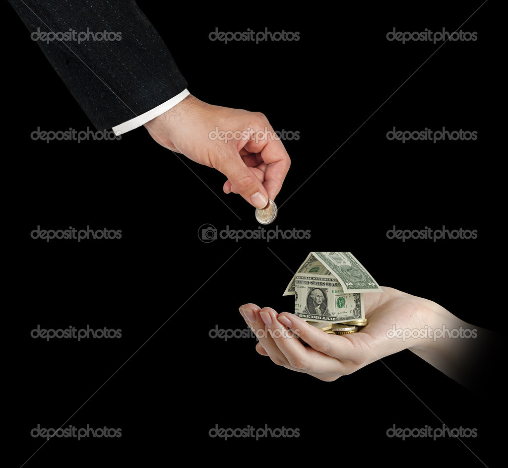 Money home in hand — Stock Photo #12226525