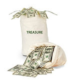 Bag with treasure — Stock Photo