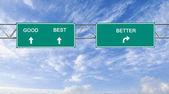 Znak drogowy na dobre, najlepsze, lepiej — Zdjęcie stockowe