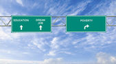 Road sign to eduacation ,dreamjob, and poverty — Foto de Stock