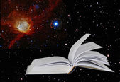 Book on star background.Elements of this image furnished by NASA — Stock Photo