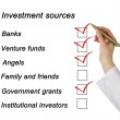 Stock Photo: Investment sources checklist
