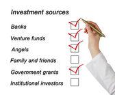 Liste de sources d'investissement — Photo