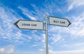 Road sign to lease and buy car — Stock Photo