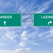 Road sign to lazinessl and career — Stock Photo #23619871