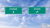 Road signs to change and stasis — Stock Photo