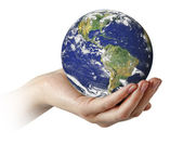 Planet earth in palm.Elements of this image furnished by NASA — Stock Photo