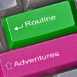 Stock Photo: Keys for adventure and routine