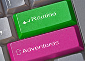 Keys for adventure and routine — Stock Photo