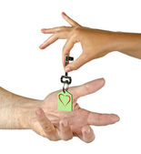 Gift of key with heart — Stock Photo