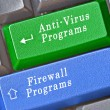 Stock Photo: Keys for anti-virus and firewall programs