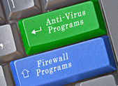 Keys for anti-virus and firewall programs — Stock Photo