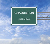 Road sign to graduation — Stock Photo