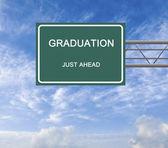 Дорожный знак на выпускной — Стоковое фото