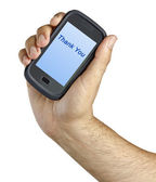 """Mobile phone with """"Breaking news"""" label on its screen — Stock Photo"""