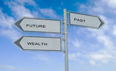 Road signs to future , wealth, and past — Stock Photo