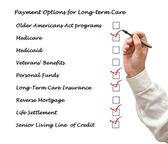 Betalningsalternativ för långtidsvård — Stockfoto