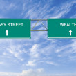 Road sign to easy street and wealth — Stock Photo #45369695