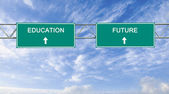 Road sign to education and future — Stockfoto