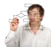 Man drawing flow diagram — Stock Photo