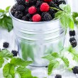 Blackberries with leafs - Foto Stock
