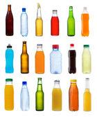 Varias botellas sobre fondo blanco — Foto de Stock