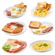 Set with various plates of fried and scrambled eggs - Foto Stock