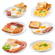 Stock Photo: Set with various plates of fried and scrambled eggs