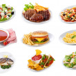 Set with plates of various food products — Stockfoto