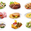 Set with plates of various food products — Stock Photo #12425478