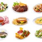 Набор с плиты различных пищевых продуктов — Стоковое фото