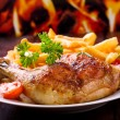 Roasted chicken leg - Stockfoto
