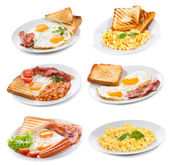Set with various plates of fried and scrambled eggs — Stockfoto