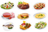 Set with plates of various food products — Stock Photo