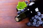 Bottle of wine with grape — Stock Photo
