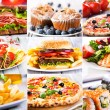Collage of fast food producrs — Stock Photo