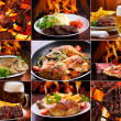 Collage of various meat products - Stock Photo