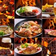 Collage of various meat products — 图库照片