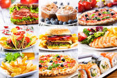 Collage of fast food producrs — Photo