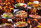 Collage de diversos productos de carne — Foto de Stock