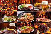 Collage of various meat products — Foto de Stock
